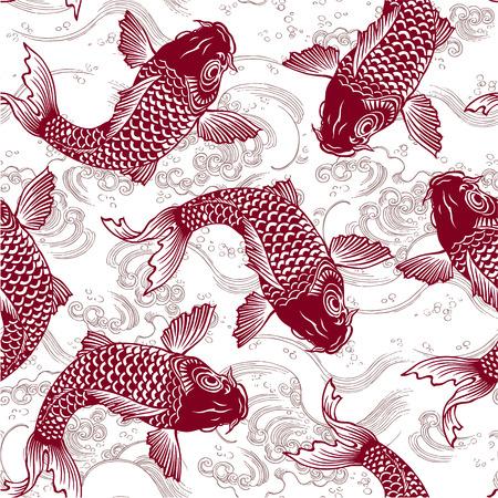 jumping carp: Japanese carp seamlessly Illustration