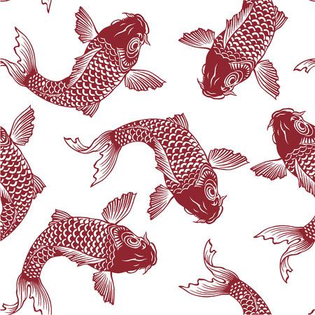 ukiyoe: Japanese carp seamlessly
