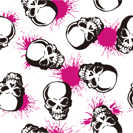 splatter and skull pattern Vector