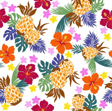 ハイビスカス パイナップルのパターン  イラスト・ベクター素材
