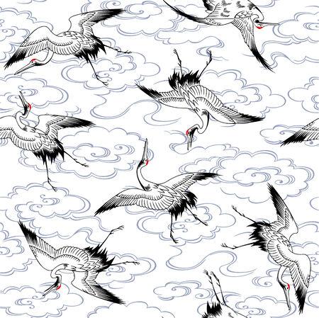 Japanese crane pattern Vector