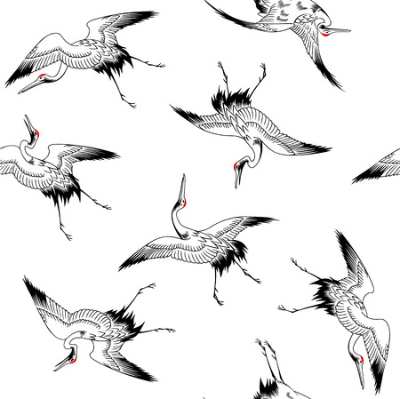 Japanese crane pattern Illustration