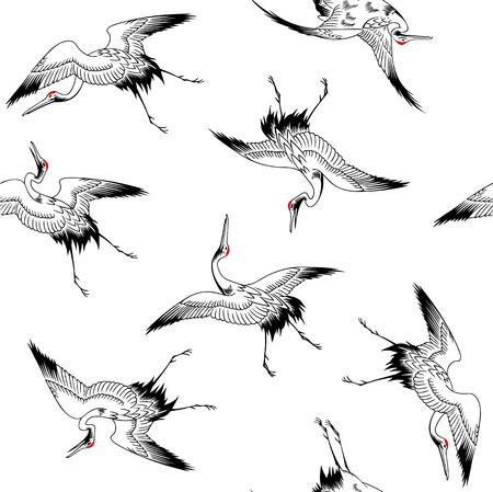 freehand tradition: Japanese crane pattern Illustration