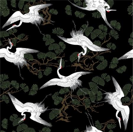 waterside: Japanese crane pattern Illustration