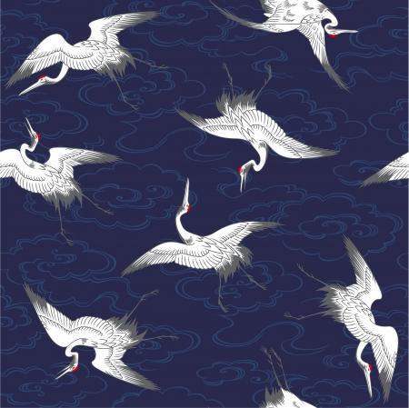 タンチョウ鶴のパターン  イラスト・ベクター素材