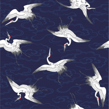 crane bird: Japanese crane pattern Illustration