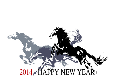 white horse: New Year s card of the horse