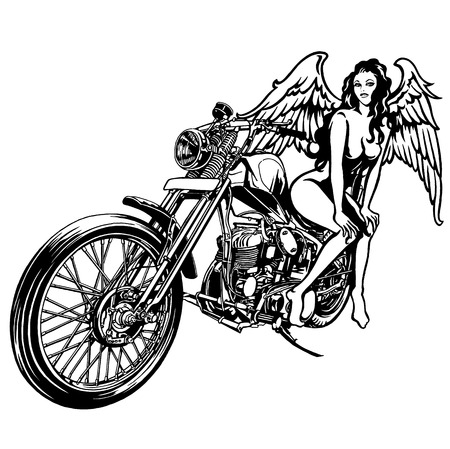 woman and a motorcycle Vector