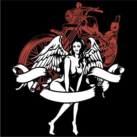 女性とオートバイ
