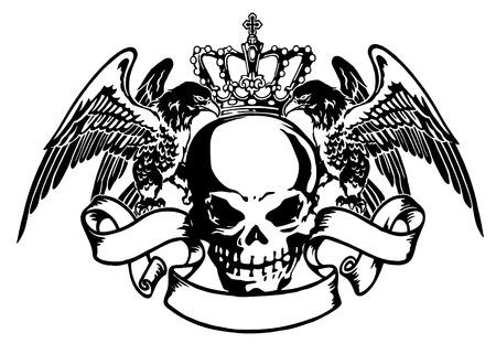 エンブレム鷲髑髏  イラスト・ベクター素材