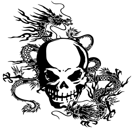 The skull and a dragon
