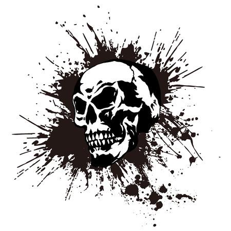 splatter: cráneo y pintura, Vectores