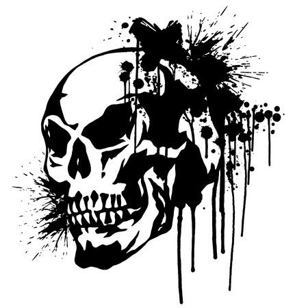 頭蓋骨と塗料、