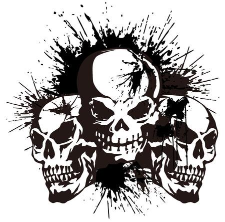 頭蓋骨とペイント、
