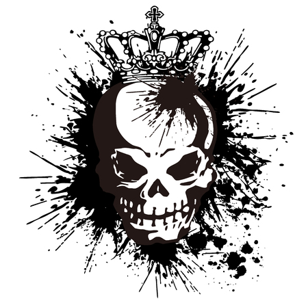 skull and crown:  skull and paint,