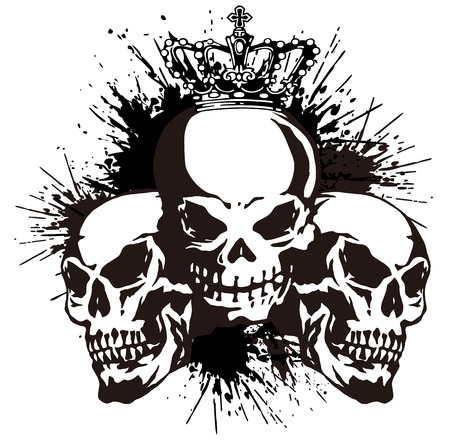 aggressive:  skull and paint,