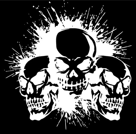 skull and paint, Vector