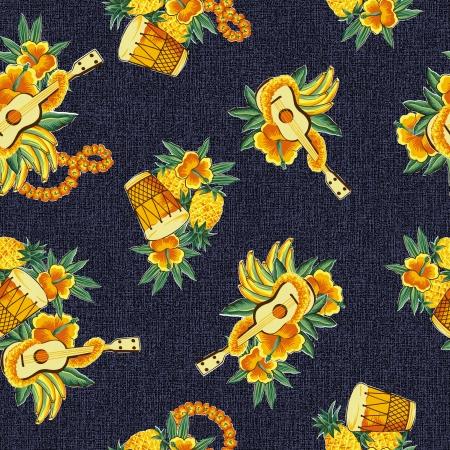 banana leaf: Hawaiian print, ukulele