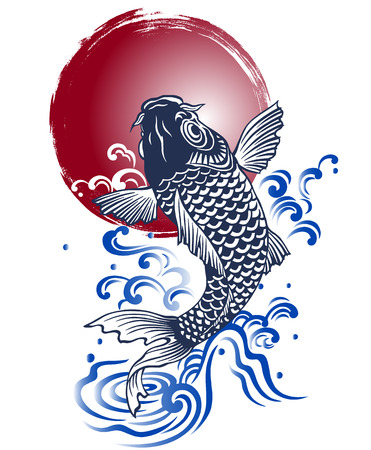japan culture: Japanese carp Illustration