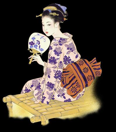 freehand tradition: woman of kimono,