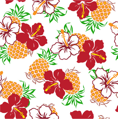 Hibiscus and a pineapple Vector