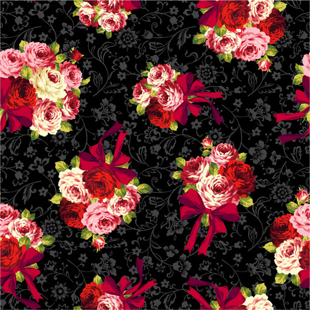rose and ribbon pattern,