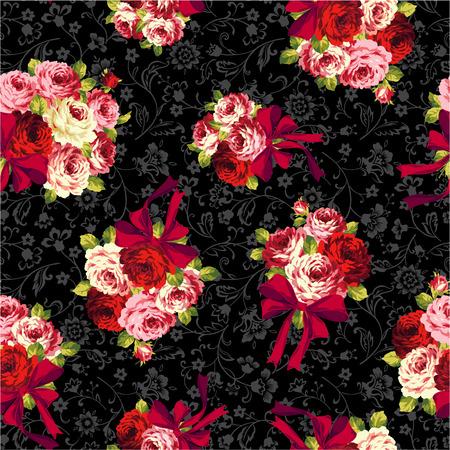 rose and ribbon pattern,