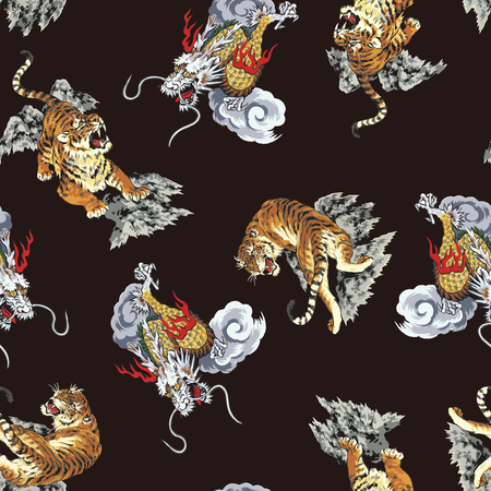 Pattern tiger and dragon Vettoriali