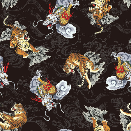 Pattern tiger and dragon 向量圖像