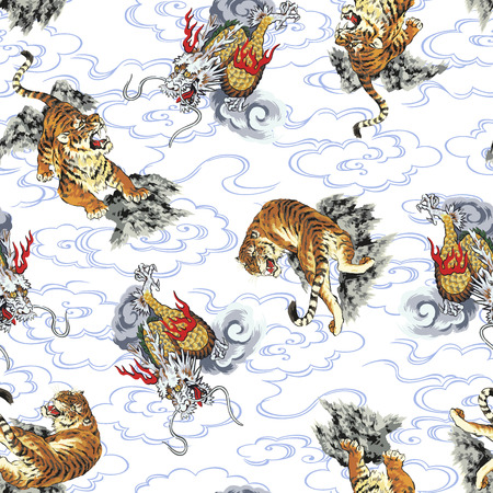 Pattern tiger and dragon Vectores