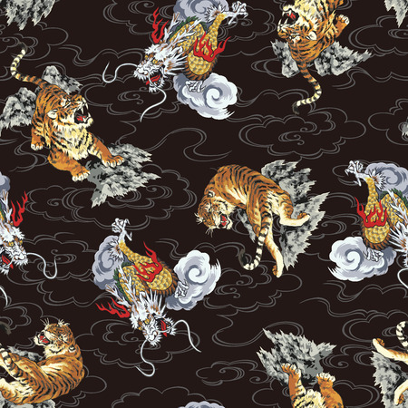 Pattern tiger and dragon Stock Illustratie