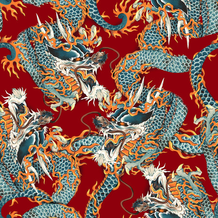 combative: Dragon pattern Stock Photo