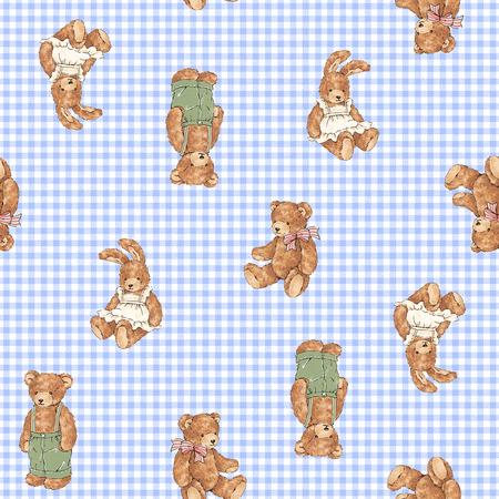 amiability: bear and rabbit pattern