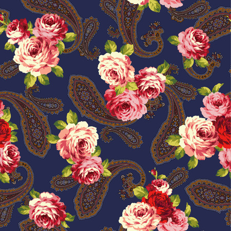 ornaments floral: rose and paisley