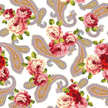 disegni cachemire: rosa e paisley Vettoriali
