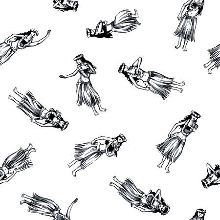 girl drawing: Hula dance