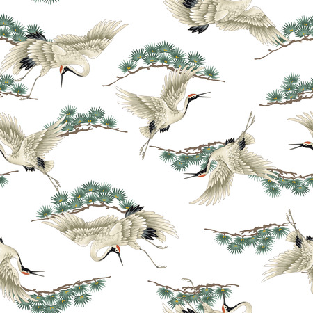 japanese pattern illustration: Japanese crane Stock Photo