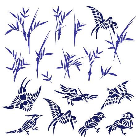 Bamboo bird illustration,