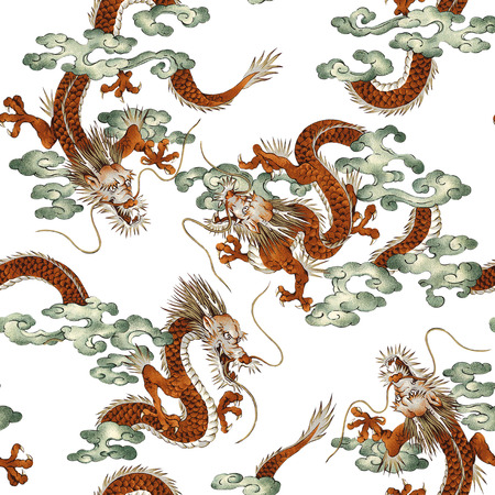 Japanese dragon pattern Stock Photo