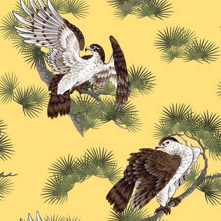 Japanse schilderkunst hawk Stockfoto