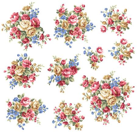 vintage: Rose ramo de flores, Vectores