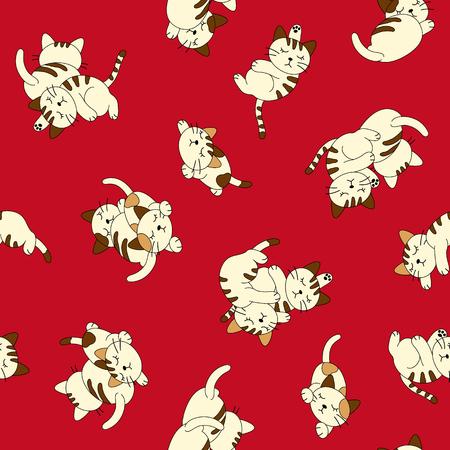 Sleepy cat pattern Illustration