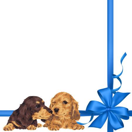 amiability: Illustration of dog and ribbon