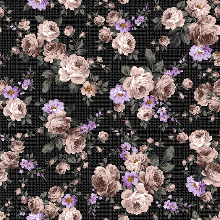 Rose flower pattern,  イラスト・ベクター素材