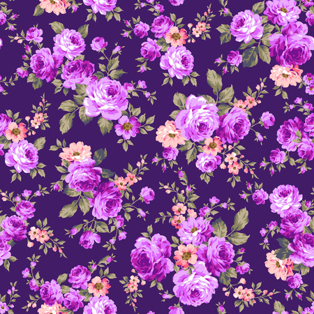 retro flower: Rose flower pattern, Illustration