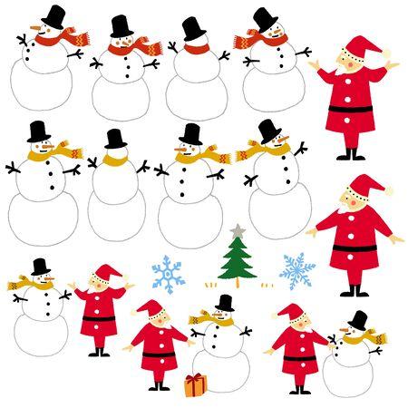 muffler: Santa Claus and snowman