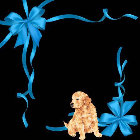 golden retriever puppy: Illustration of dog and ribbon