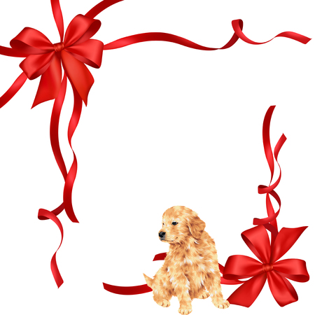 golden retriever puppy: Illustration of dog and ribbon