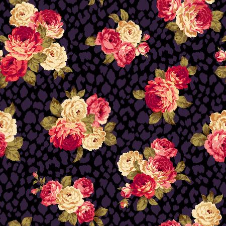 bouquet de fleur: Rose motif de fleur, Illustration
