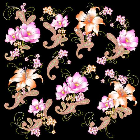 disegni cachemire: Fiore illustrazione oggetto Vettoriali